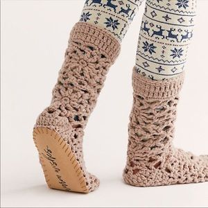 FREE PEOPLE Warm Wishes Crochet Calf High Slippers